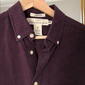 H&M Shirts - H&M Maroon Oxford Button Down Shirt size Small